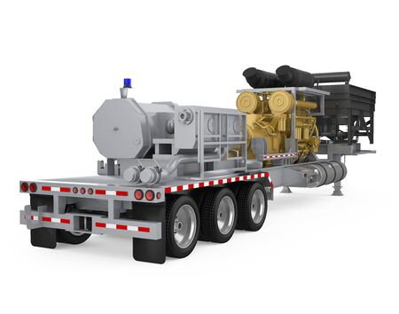 Fracturing Unit Semi-Trailer Isolated