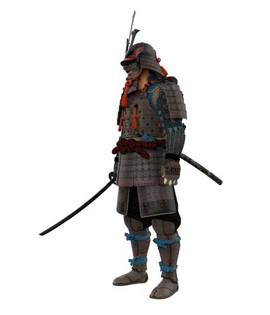 Samurai in Armor Isolated