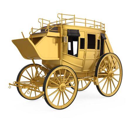 Vintage carrosse d'or isolé