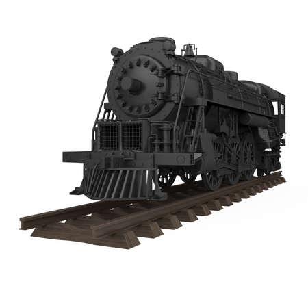 Old Steam Locomotive Isolated Stockfoto