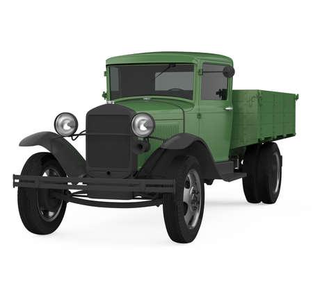 Retro Flatbed Truck Isolated Stockfoto
