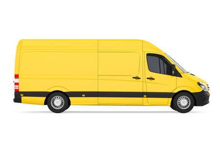Yellow Delivery Van Isolated Stock fotó