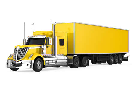 Yellow Trailer Truck Isolated