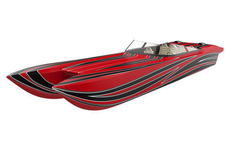 Red Speedboat Isolated