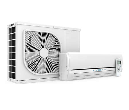 Air Conditioner Unit Isolated Stock Photo