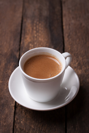 Coffee espresso on a wooden background with copy space Stockfoto