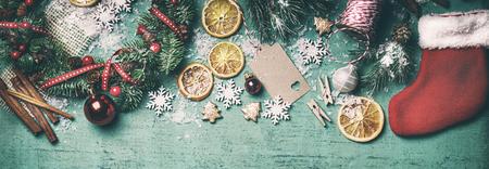Christmas concept, christmas decoration, top view, toned, horizontal