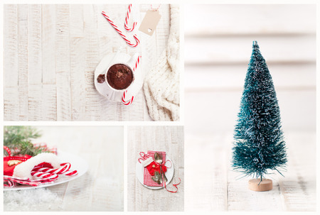 artifical: Christmas collage - hot chocolate, artifical christmas tree, candy cane and vintage cutlery