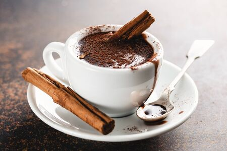 Hot chocolate with cinammon and chocolate in cup. Closeup