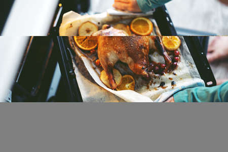 Woman cooking duck with vegetables and puting it from oven. Lifestyle. Christmas or Thanksgiving concept.