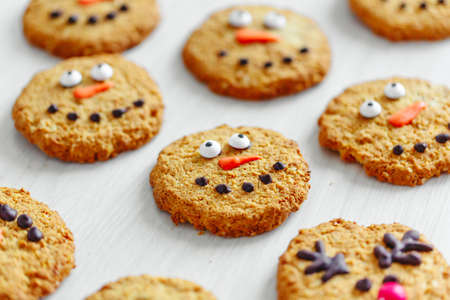 Decorated christmas cookies with snowman. Closeup