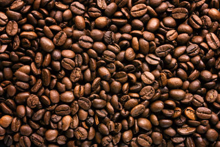 Coffee beans on dark background. Top view. Coffee concept. Stockfoto