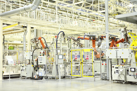 new automobile: Part of the welding in a large new automobile factory Editorial