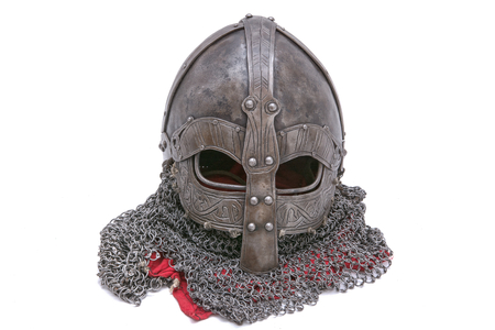 armour: Viking helmet isolated on a white background Stock Photo