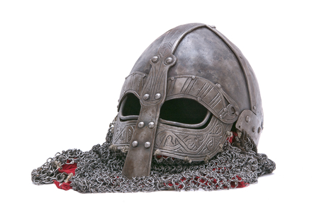 Viking helmet isolated on a white background Imagens