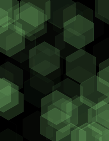 rows: Black abstract geometric background formed with colored hexagons in rows Stock Photo