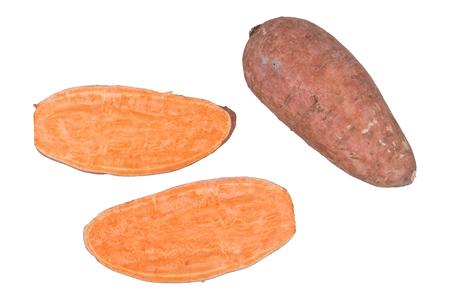 potatoe: Cut sweet potatoe isolated on white background