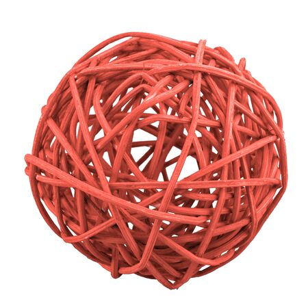 Red wicker ball isolated on a white background