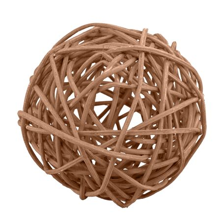 Brown wicker ball isolated on a white background