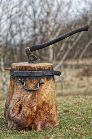 ferreteria: Forged chopping block for splitting wood with axe