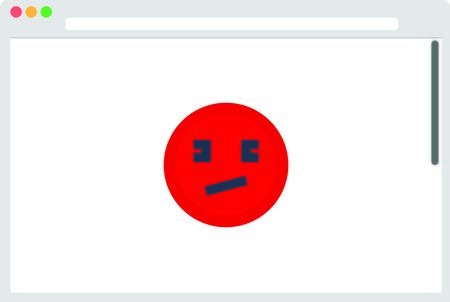File browser with red emoticon. Vector illustration