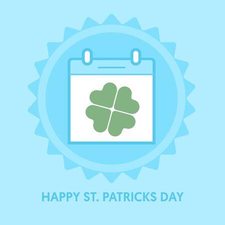 patrick's: Blue calendar icon. St. Patricks day. Vector illustration.
