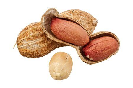 Peanuts (Arachis hypogaea) isolated on a white background Stock Photo