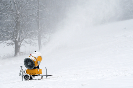 Snow making machine close up. Snow cannon in winter. Snow-gun