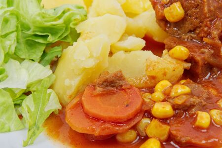 Detail of mexican goulash with potatoes