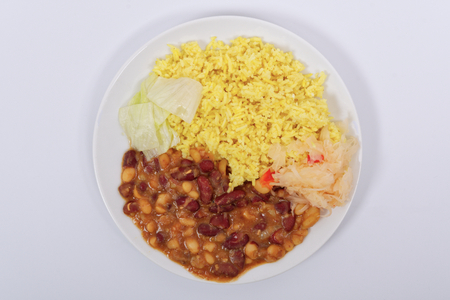 Red beans with curry rice on a white background Stock Photo