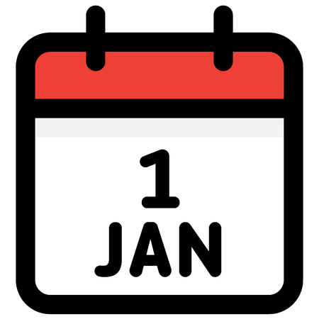 1. January - Calendar Icon - Vector Illustration - Vector Standard-Bild - 126290577