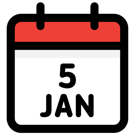 5. January - Calendar Icon - Vector Illustration - Vector Standard-Bild - 126290581