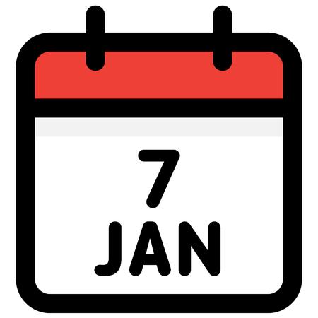 7. January - Calendar Icon - Vector Illustration - Vector Standard-Bild - 126290583