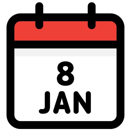 8. January - Calendar Icon - Vector Illustration - Vector Standard-Bild - 126290584