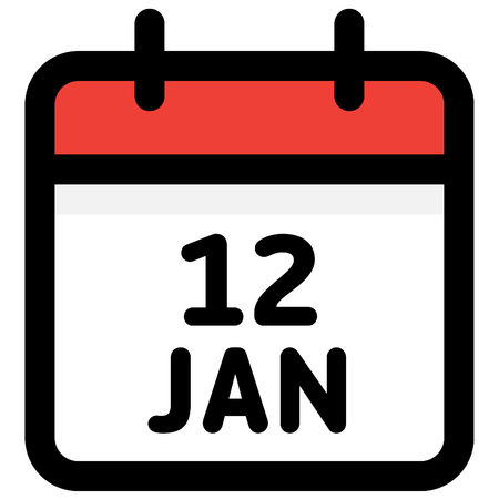 12. January - Calendar Icon - Vector Illustration - Vector Standard-Bild - 126290588