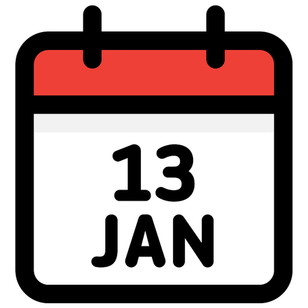 13. January - Calendar Icon - Vector Illustration - Vector Standard-Bild - 126290589