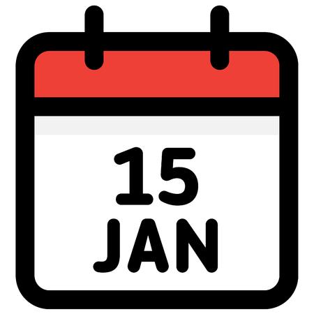 15. January - Calendar Icon - Vector Illustration - Vector Standard-Bild - 126290591