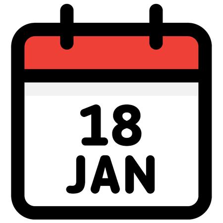 18. January - Calendar Icon - Vector Illustration - Vector Standard-Bild - 126290594