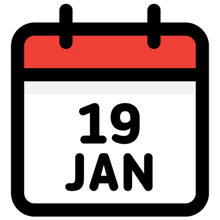19. January - Calendar Icon - Vector Illustration - Vector Standard-Bild - 126290595