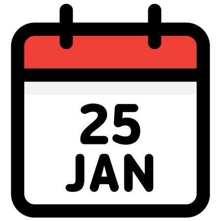 25. January - Calendar Icon - Vector Illustration - Vector Standard-Bild - 126290599