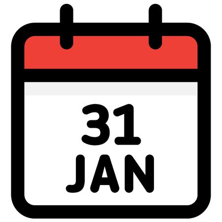 31. January - Calendar Icon - Vector Illustration - Vector Standard-Bild - 126290605