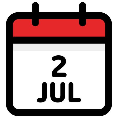 2. July - Calendar Icon - Vector Illustration - Vector