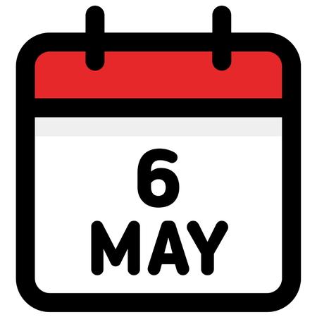 6. May - Calendar Icon - Vector Illustration - Vector Vector Illustratie