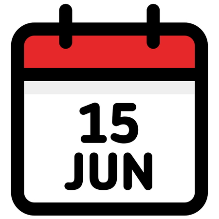 15. June - Calendar Icon - Vector Illustration - Vector Stock Illustratie