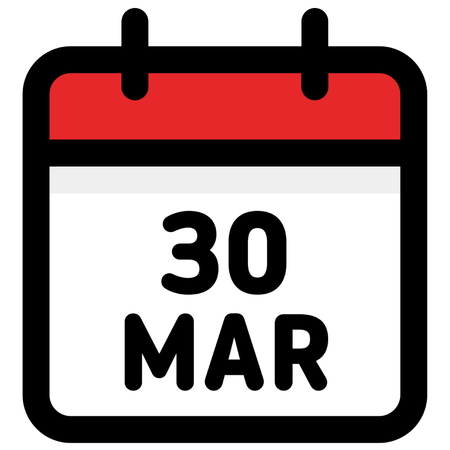 30. March - Calendar Icon - Vector Illustration - Vector Illustration