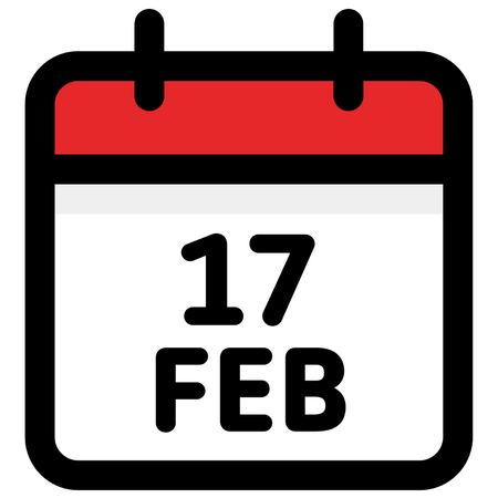 17. February - Calendar Icon - Vector Illustration - Vector Standard-Bild - 126245306