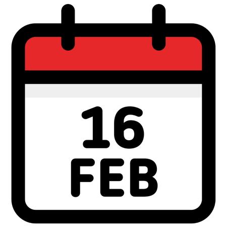 16. February - Calendar Icon - Vector Illustration - Vector Standard-Bild - 126245307