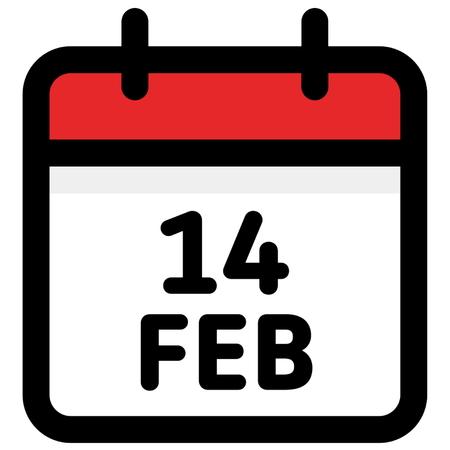 14. February - Calendar Icon - Vector Illustration - Vector Standard-Bild - 126245309