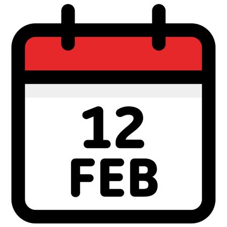 12. February - Calendar Icon - Vector Illustration - Vector Standard-Bild - 126245311