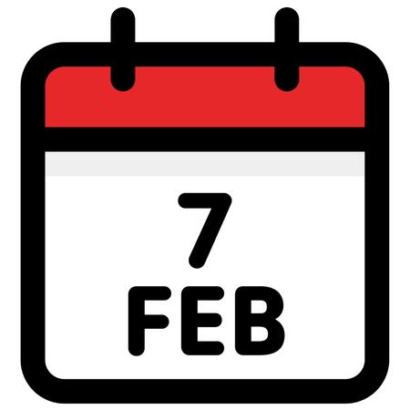 7. February - Calendar Icon - Vector Illustration - Vector Standard-Bild - 126245315